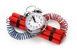 A ticking time bomb acts as a visual metaphor for the need to defuse capital gains tax on shares and other investments.
