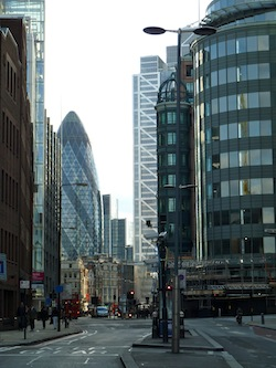 Commercial property is trading at a discount in London, suggesting investor pessimism.