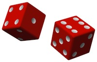 Image of two dice, to illustrate the random nature of Premium Bond investing.