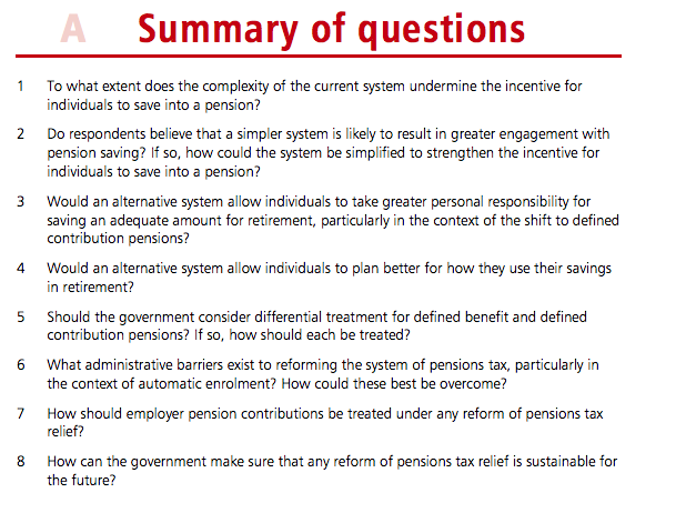 Pension reform consultation questions