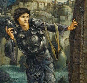 A pre-Raphaelite painting of a young knight in search of something