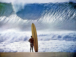 A surfer contemplates the turbulent seas, just as we must plan for turbulent markets.