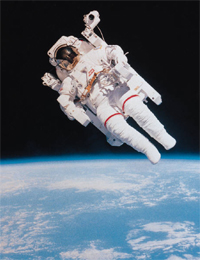 A spaceman floating through space representing how low interest rates may have taken away the gravity from investing.