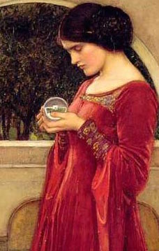 A section of a painting of a woman with a crystal ball, by John William Waterhouse
