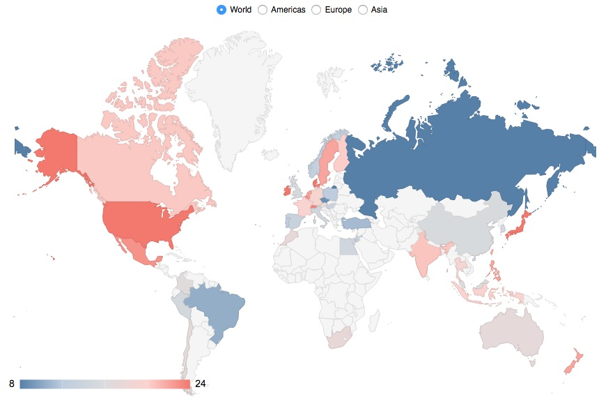 Global Map showing global valuation ratios by CAPE