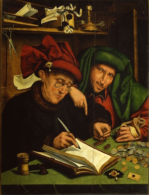 Painting: Two friends compare their investments.