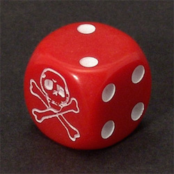 A dice where one side is a skull