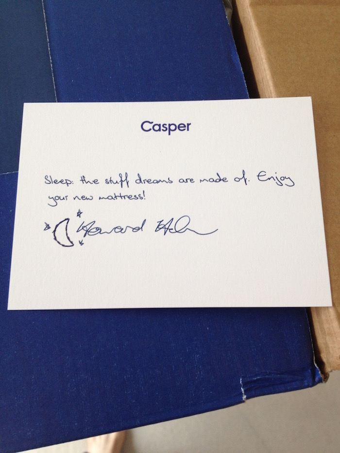 Photo of a welcome note from Caspar