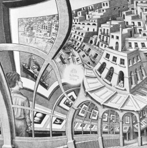 An Escher painting showing houses distorting as a metaphor for seeing mortgages through different financial lenses.