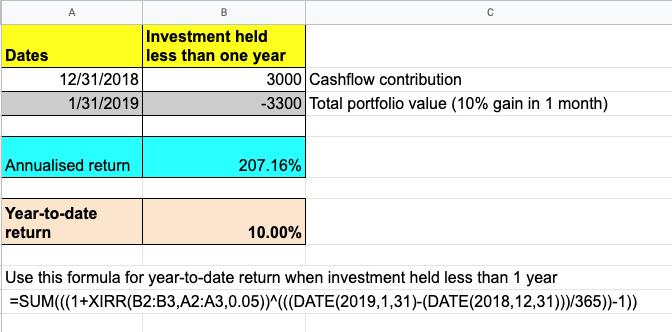 XIRR formula generating a year-to-date return