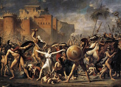 Old oil painting of a classical battle