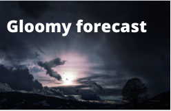 """Image of dark clouds with text reading """"gloomy forecast"""" as a metaphor for low return predictions."""