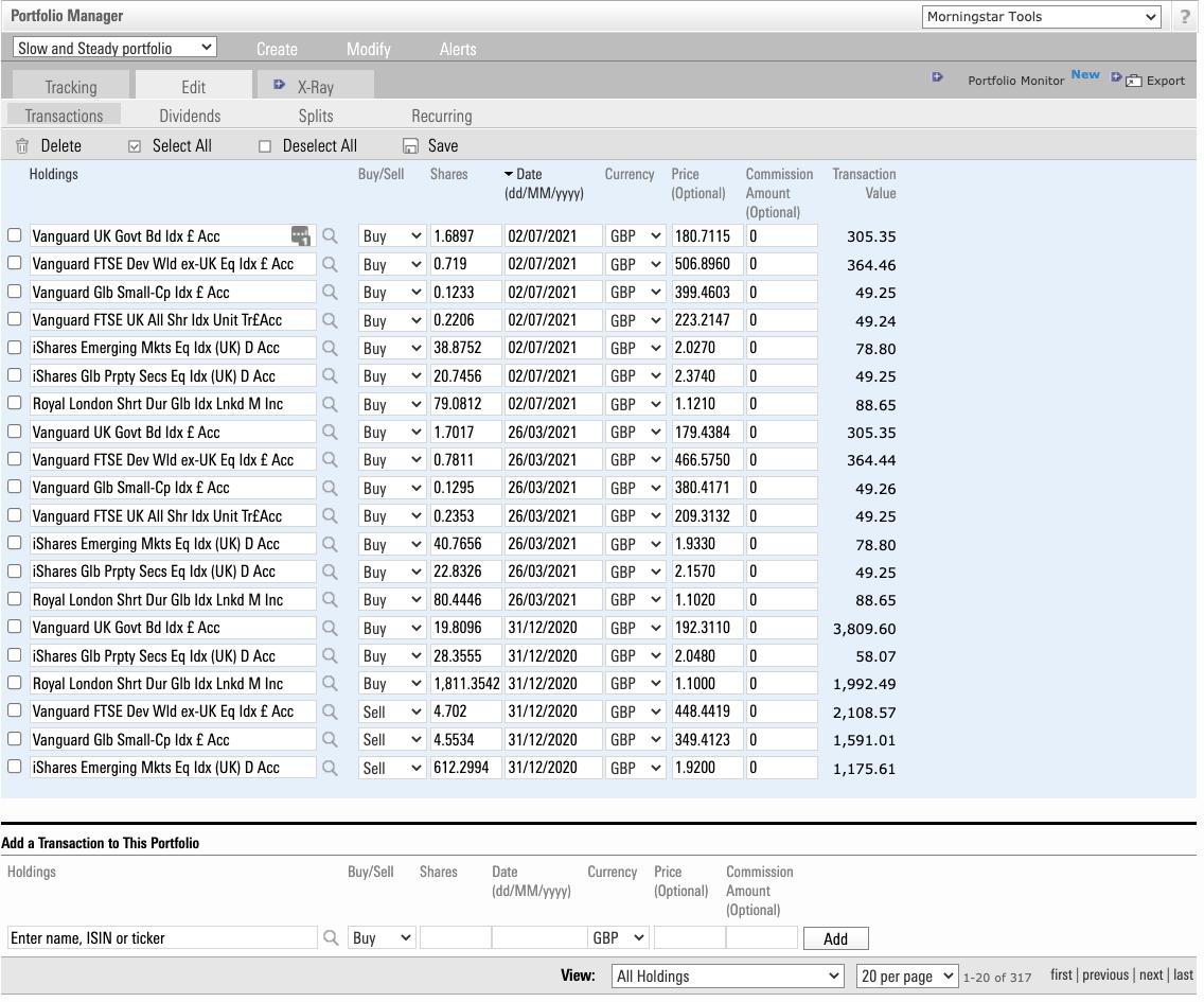 Portfolio management tool: transactions screen